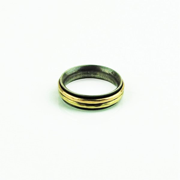 Betts, Malcolm – Silver Ring with Yellow and Rose Gold Bands | Malcolm Betts | Primavera Gallery