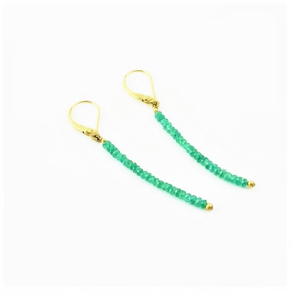 Betts, Malcolm – Gold and Emerald Drop Earrings | Malcolm Betts | Primavera Gallery
