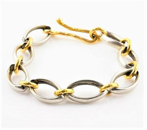 Betts, Malcolm – Oval Hammered Platinum Gold Bracelet | Malcolm Betts | Primavera Gallery