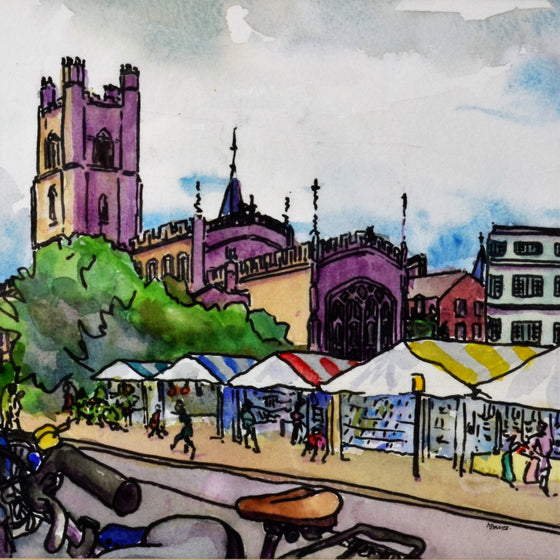Cambridge Market with Bikes | Naomi Davies | Primavera Gallery