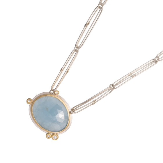 Silver, Gold and Rose Cut Aquamarine Necklace | Natalie Harris | Primavera Gallery