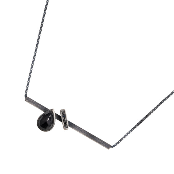Silver, Black Sapphire and Diamond Necklace | Natalie Harris | Primavera Gallery