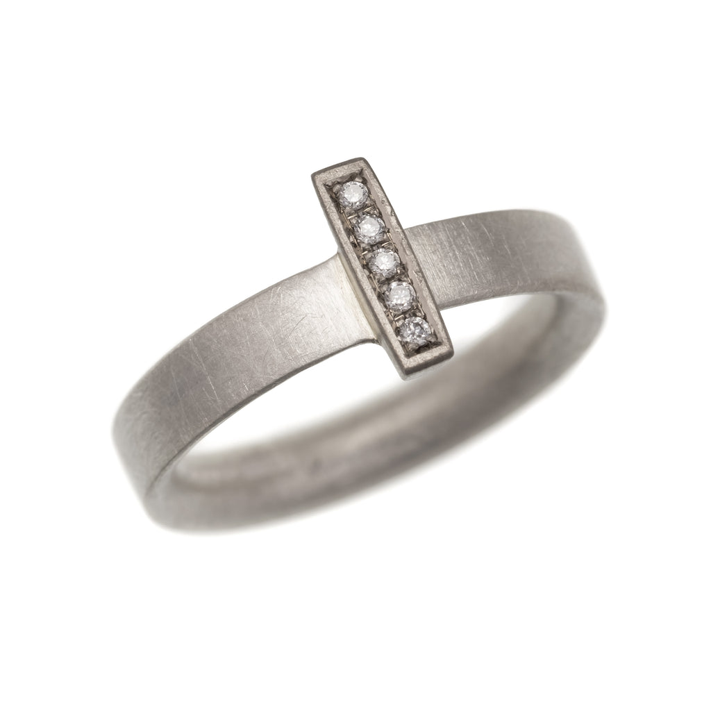 Silver, White Gold and Diamond Wedge Ring | Natalie Harris | Primavera Gallery