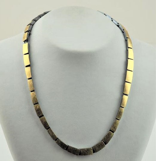 Elegant Gold with Oxidised Silver Necklace | Primavera Gallery  | Primavera Gallery