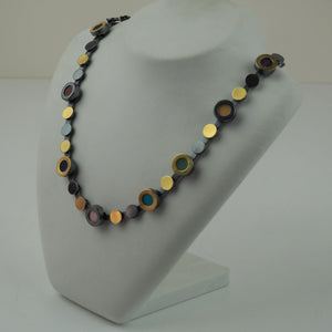 Gold and Oxidised Silver Necklace with Gemstone | Kai Klosowski | Primavera Gallery