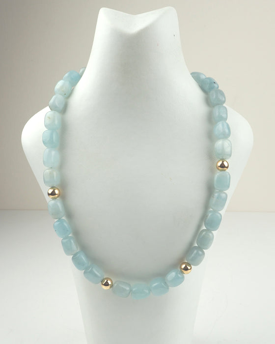 Polished Aquamarine and Gold Necklace | Jackie Lucas | Primavera Gallery