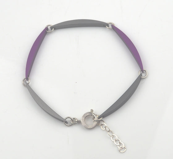 Luna Link Adjustable Bracelet - Violet and Graphite | Rosina Beech | Primavera Gallery