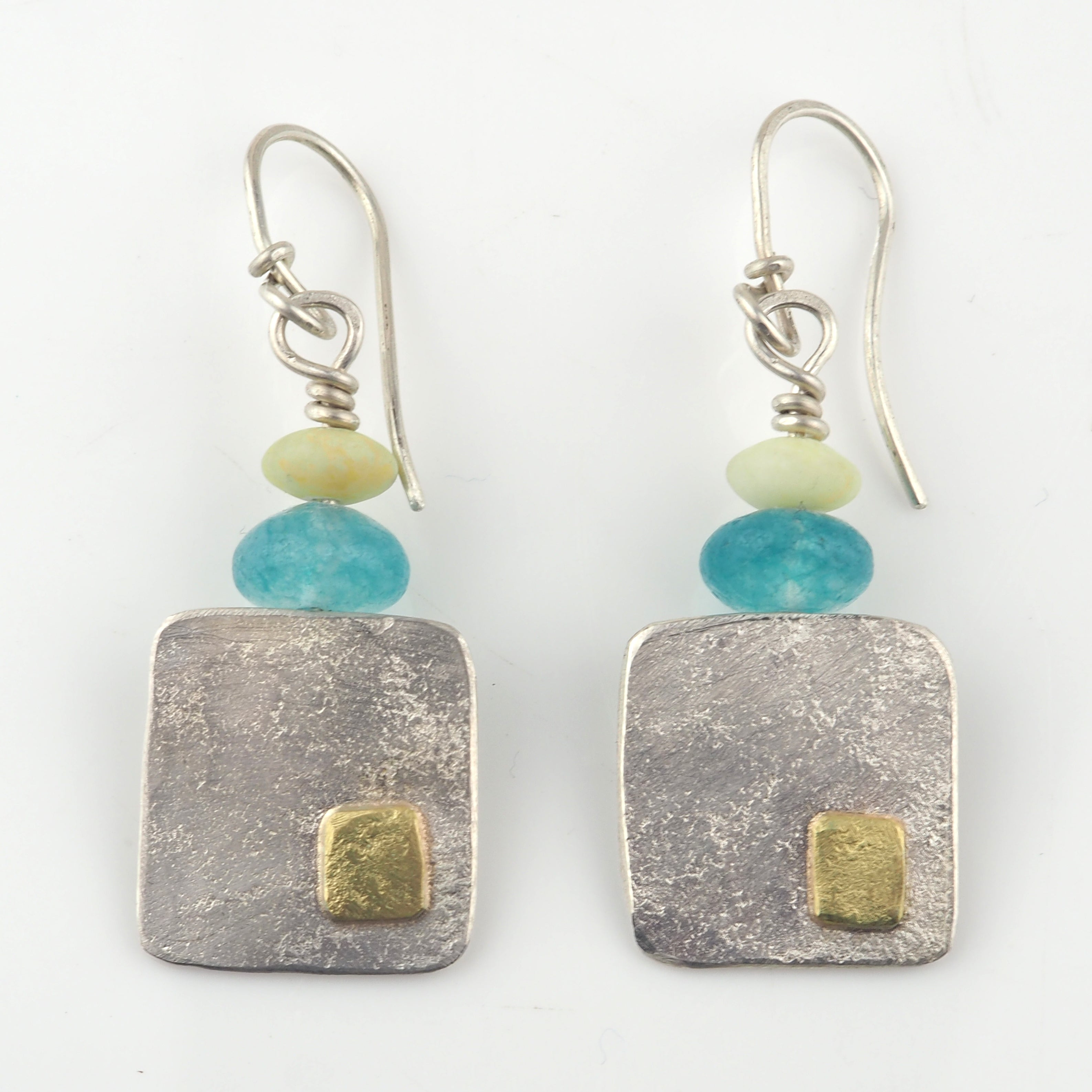 Gold and Silver Hand Beaten Earrings | Duibhne Gough | Primavera Gallery