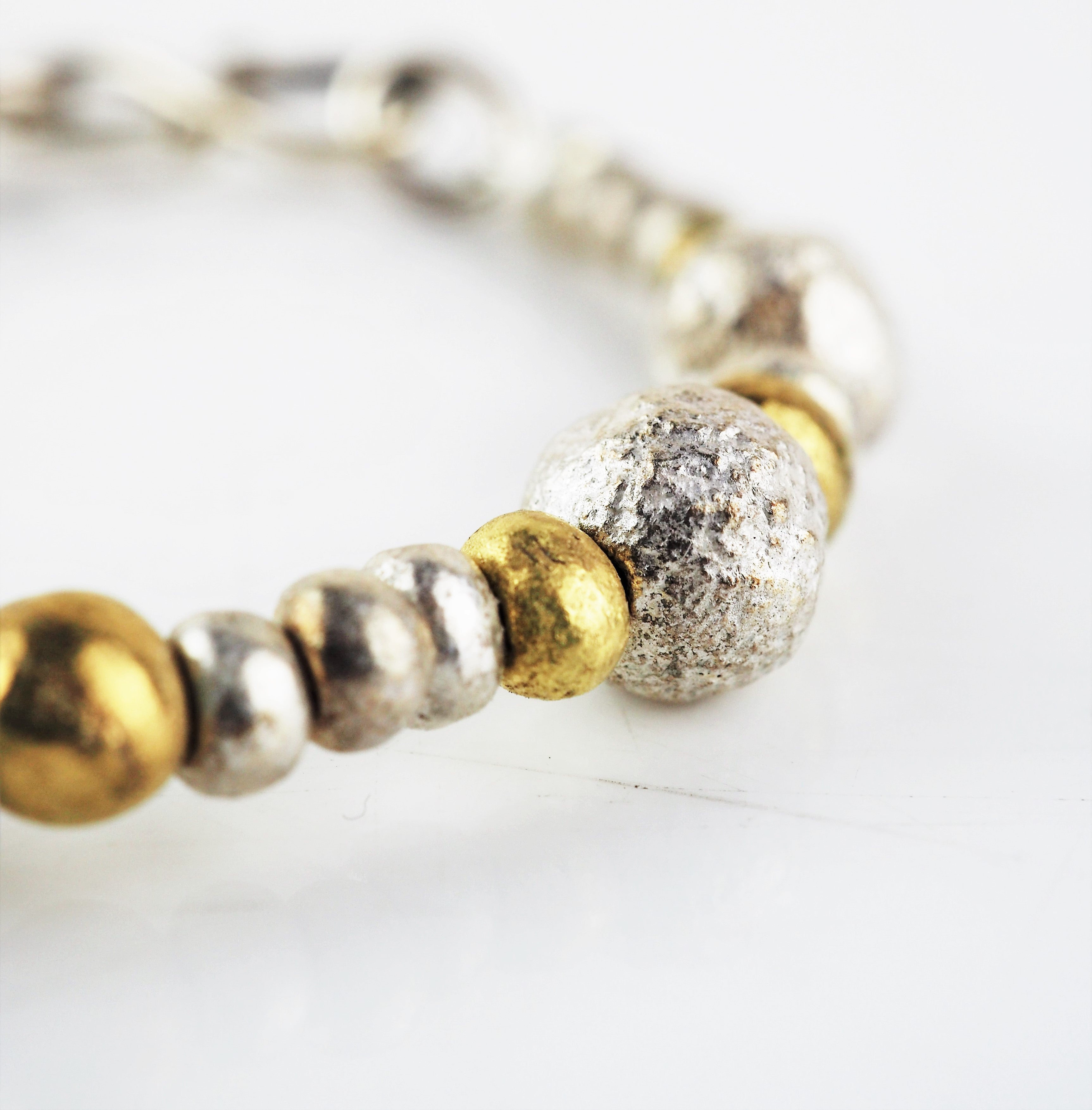 Silver and Gold Nugget Bracelet