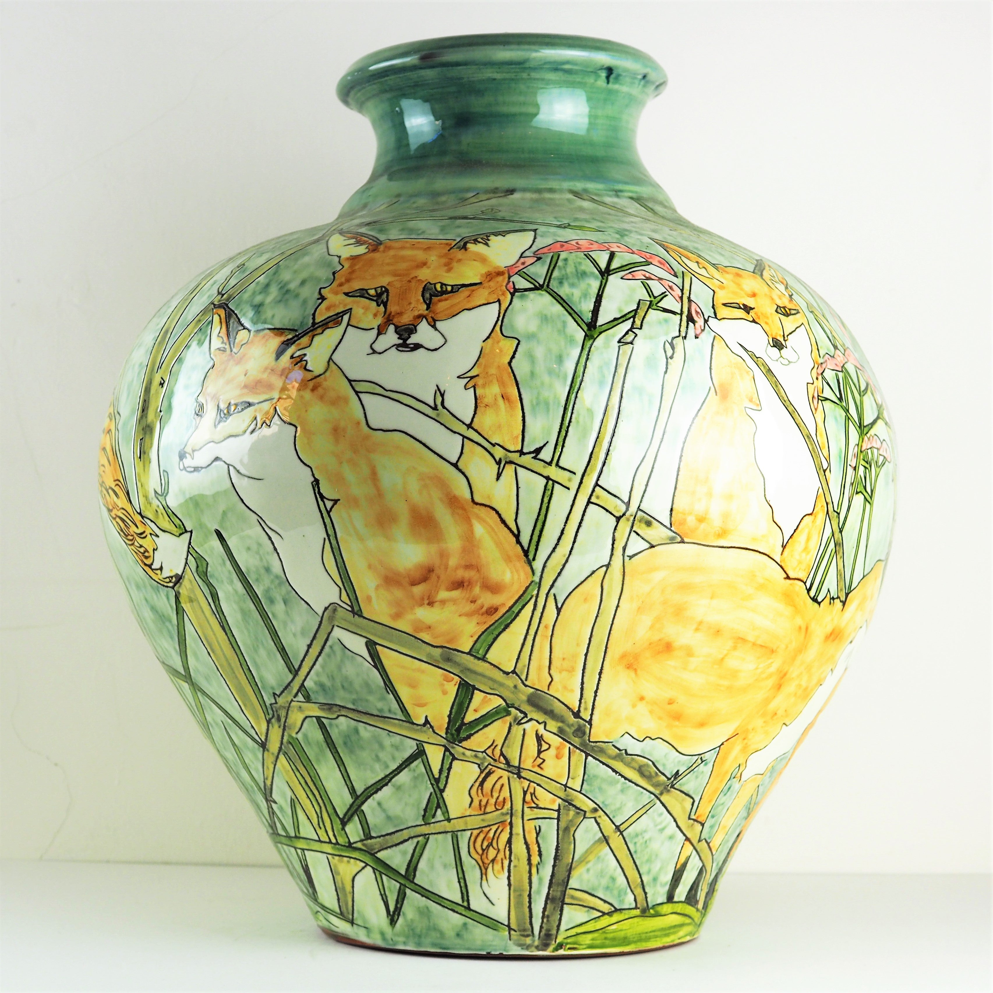 Hale, Jennie – Decorated Earthenware Vase With Foxes | Jennie Hale | Primavera Gallery