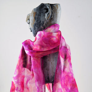 Pink Painted Silk Scarf | Mo DeRome | Primavera Gallery