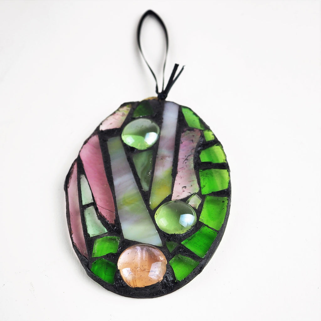 Hall, Kay – Green/Pink Glass Hanging | Kay Hall | Primavera Gallery