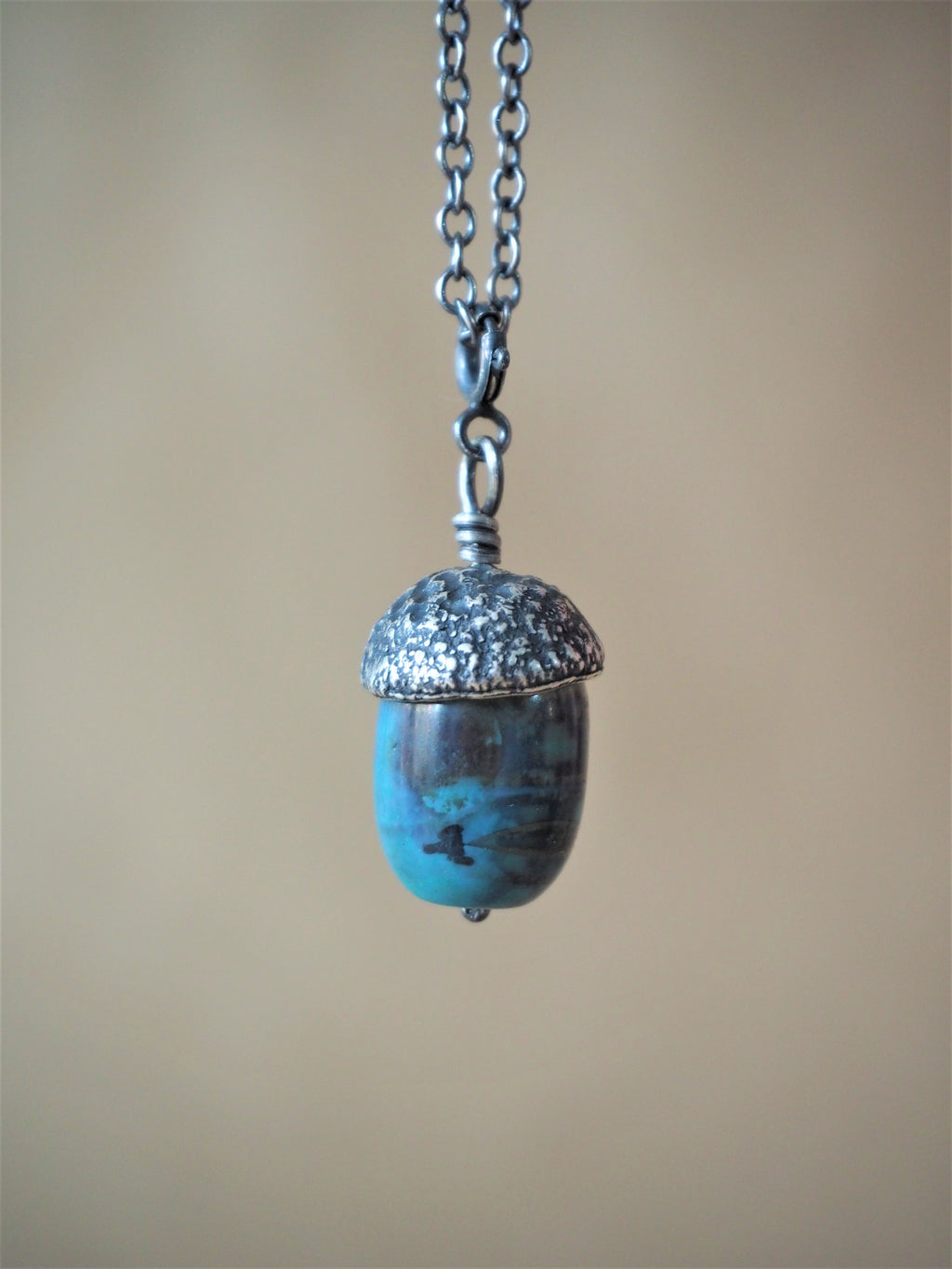 High, Charlie - Blue Agate and Oxidised Silver Acorn Pendant