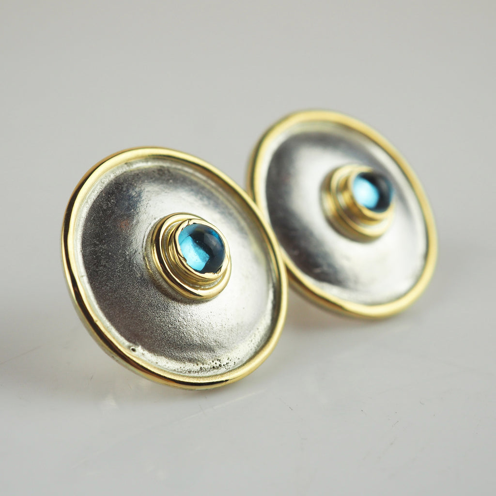 Lever, David - Silver Studs with Topaz | David Lever | Primavera Gallery
