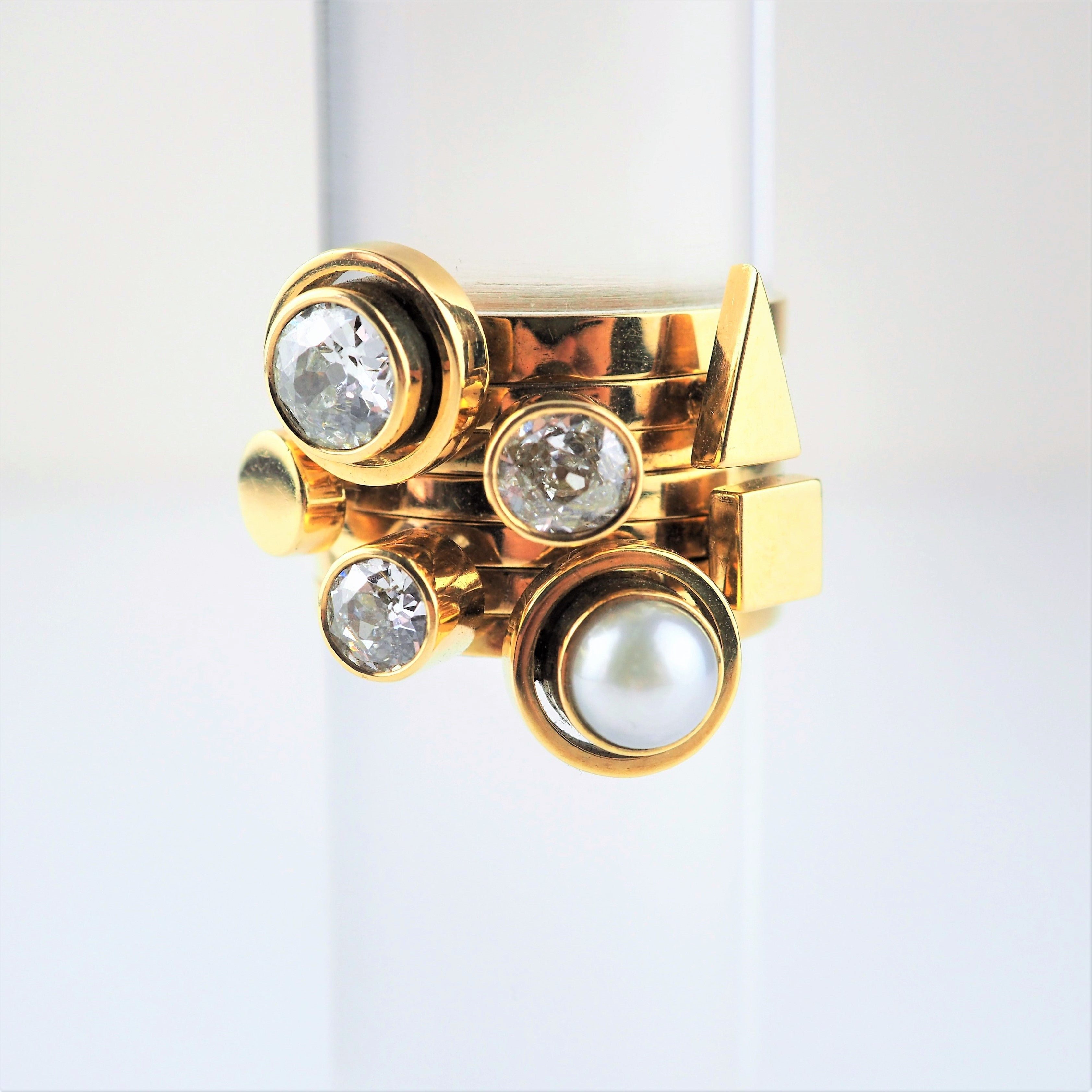 Ramshaw, Wendy – Gold Diamond Pearl Ring Set | Wendy Ramshaw | Primavera Gallery