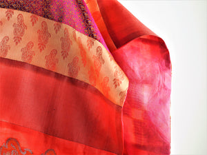 Red Patterned Silk Scarf | Tess Blondel | Primavera Gallery