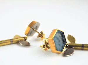 Gold and Aquamarine Earrings | Catherine Mannheim | Primavera Gallery