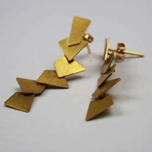 Krinos, Daphne – Gold Dangling Stud Earrings