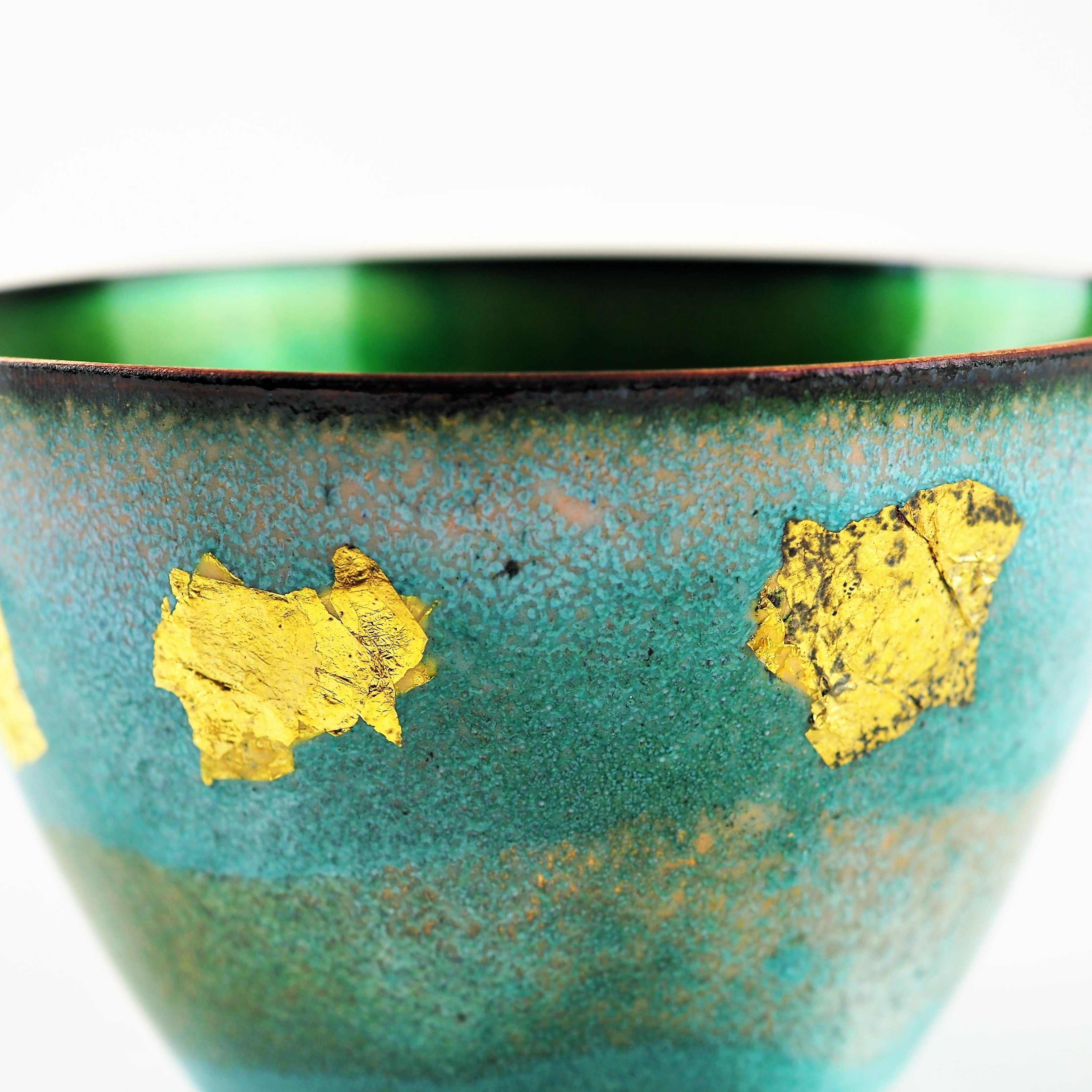 Johnson, Pat – Gold Flake Enamelled Copper Bowl | Pat Johnson | Primavera Gallery