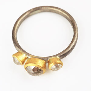Harris, Natalie - Tamboli Cut White and Yellow Gold Ring | Natalie Harris | Primavera Gallery