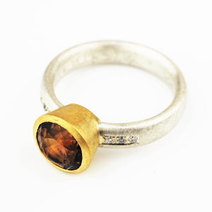 Harris, Natalie - Brown Tourmaline, Silver and Yellow Gold Ring | Natalie Harris | Primavera Gallery