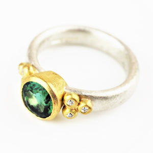 Harris, Natalie - Green Tourmaline, Silver and Yellow Gold Ring | Natalie Harris | Primavera Gallery
