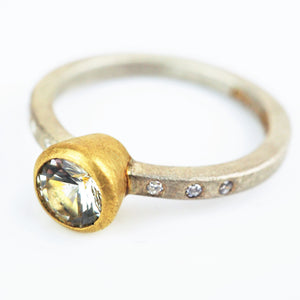 Harris, Natalie - Sapphire, Silver and Yellow Gold Ring | Natalie Harris | Primavera Gallery