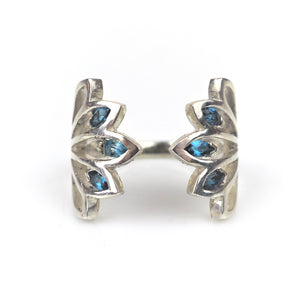 Franklin, John – Five Leaf Silver Ring with Blue Marquise | John Franklin | Primavera Gallery