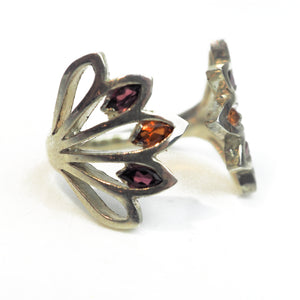 Franklin, John – Five Leaf Silver Ring with Mandarin Garnet | John Franklin | Primavera Gallery
