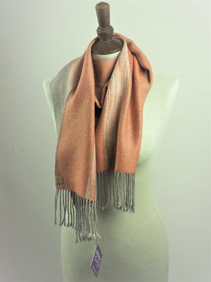 Copy of Booker, Cally - Grey and Peach Linn Scarf | Cally Booker | Primavera Gallery