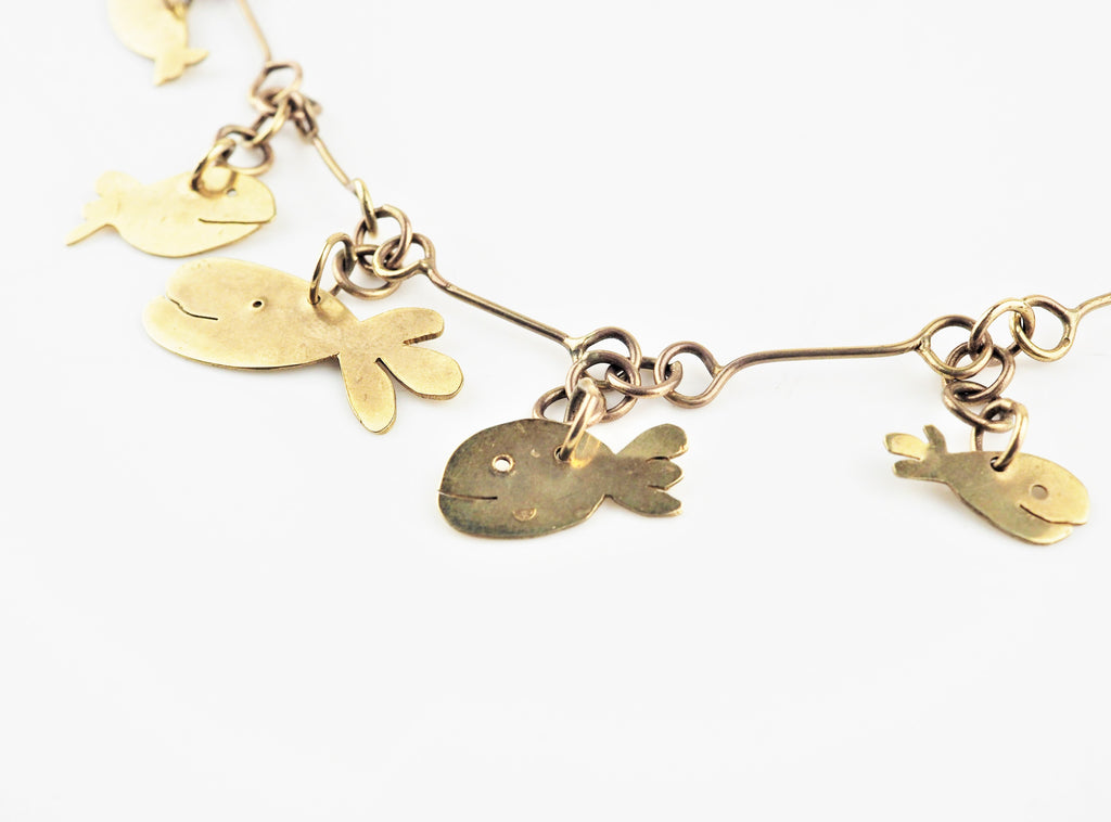 Gold Whale and Squid Necklace | Jemima Pine | Primavera Gallery