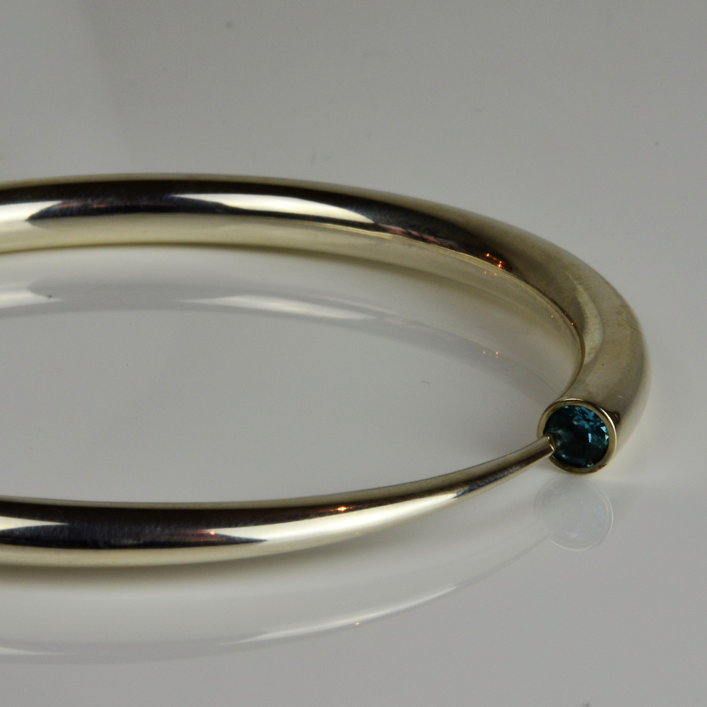 Silver and Topaz Detailed Bangle | Paul Finch | Primavera Gallery