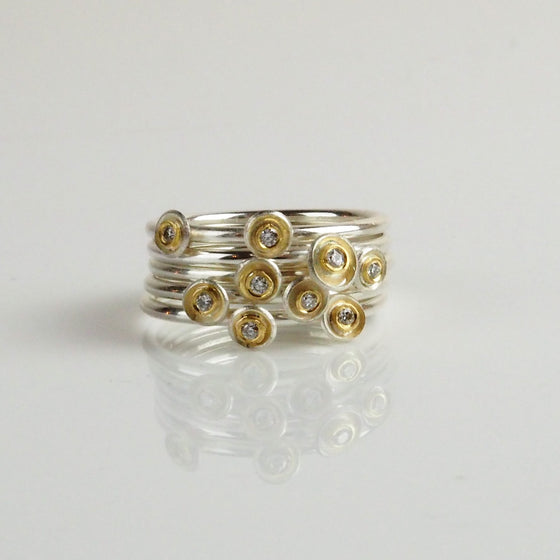 Silver Cluster Rings with Diamonds | Shimara Carlow | Primavera Gallery