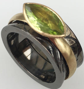 Hines, Susi – Black Rhodium Silver And Gold Ring