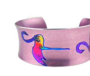 'Flamboyant Flamingos' Anodised Aluminium Bangle | Miranda Peckitt | Primavera Gallery