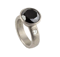 Betts, Malcolm – Platinum Ring with Black and White Diamonds | Malcolm Betts | Primavera Gallery