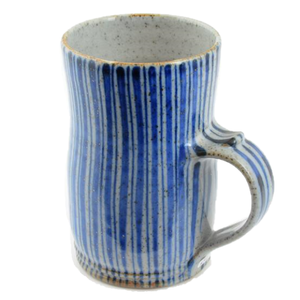 Large Blue Pinstripe Mug | Robert Goldsmith | Primavera Gallery