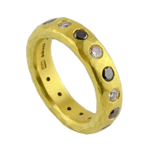 Gold Ring with White and Black Diamonds | Malcolm Betts | Primavera Gallery