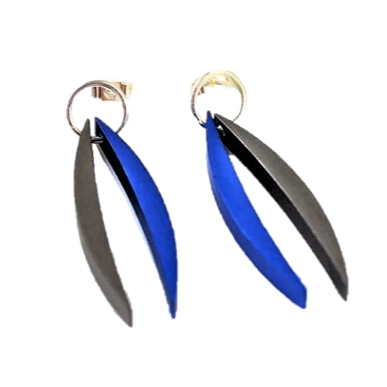 Beech, Rosina – Blue and Graphite Aluminium Earrings | Rosina Beech | Primavera Gallery