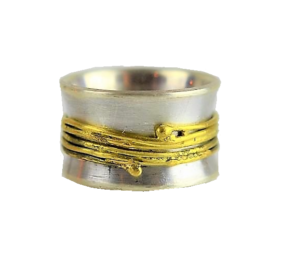 Silver and Gold Fiddle Ring