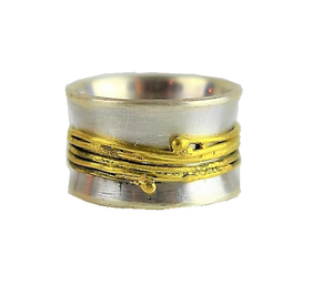 Van Niftrik, Syann – Silver and Gold Fiddle Ring | Syann van Niftrik | Primavera Gallery