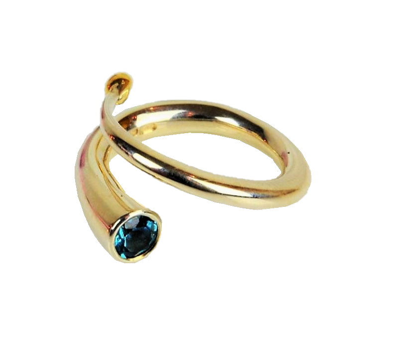 Finch, Paul – Silver Spiral Ring with Topaz and Gold Detail | Paul Finch | Primavera Gallery