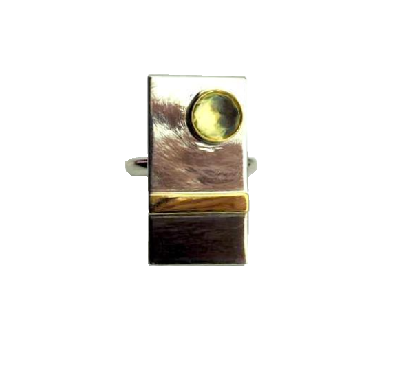 Designs, Tim – Silver and Gold Ring with Lemon Quartz | Tim Designs | Primavera Gallery