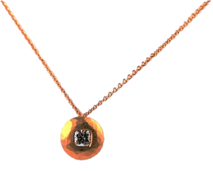 Rose Gold and Cushion Cut Diamond Necklace | Malcolm Betts | Primavera Gallery