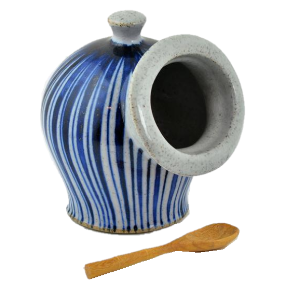 Goldsmith, Robert – Large Blue Pinstripe Salt Pot | Robert Goldsmith | Primavera Gallery