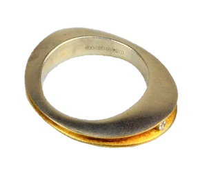 Silver and Gold Ring – Split Silver Shell