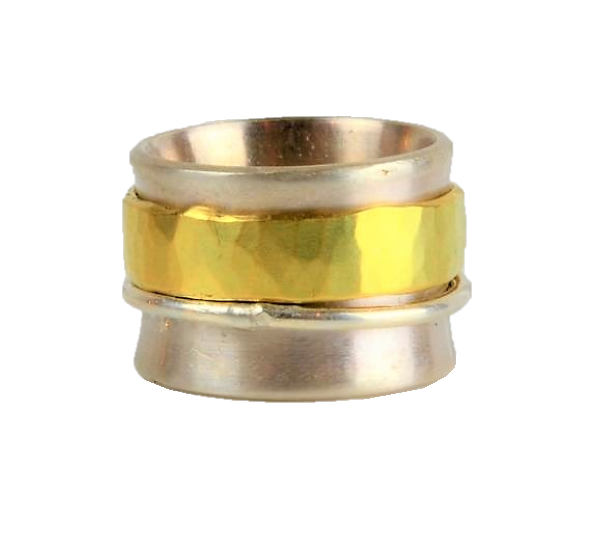 Silver and Gold Band Fiddle Ring