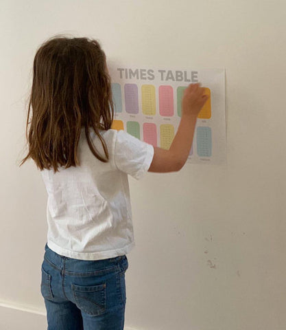 A young girl uses Nutmeg Homeschool Poster Stickers during home school