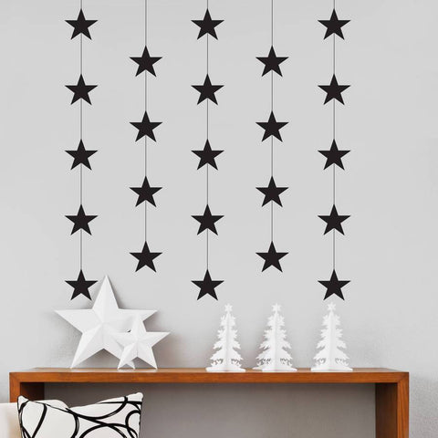 Black Christmas Star Garland Wall and Window Sticker