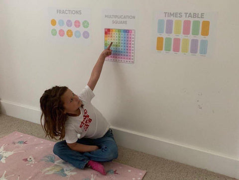 A little girl is home schooling, pointing to the maths homeschool posters on her wall.